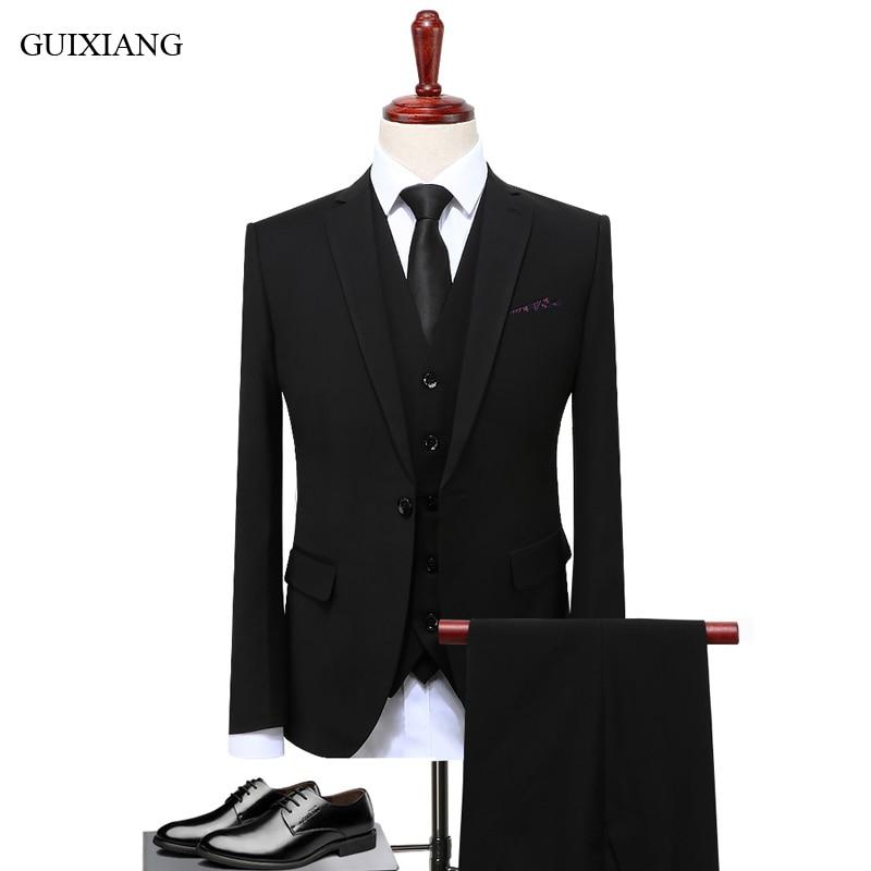 New style men high-end boutique suit business casual single buttton slim business outfit mens three-pieces suit plus size S-5XL