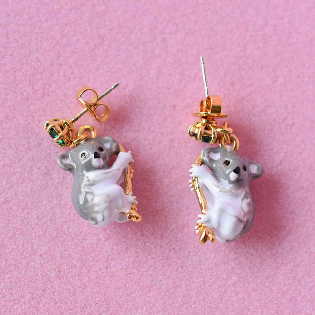 Les Nereides Paris Fashion Style Enamel Jewelry Stud Earrings For Women Grizzly Bear Koala Gem 2017 Luxury Party Accessories