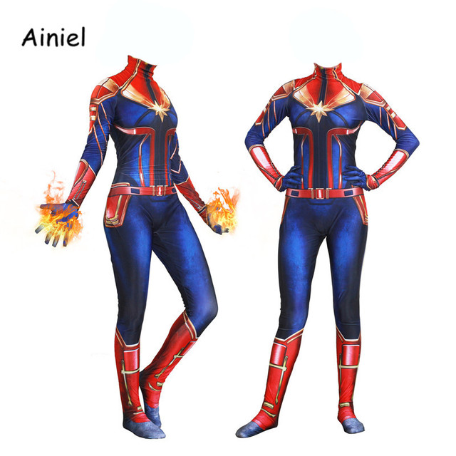 9a853007f31 Women Girls Movie Captain Marvel Carol Danvers Cosplay Costumes Superhero  Halloween Patty zentai Costume Suit Women