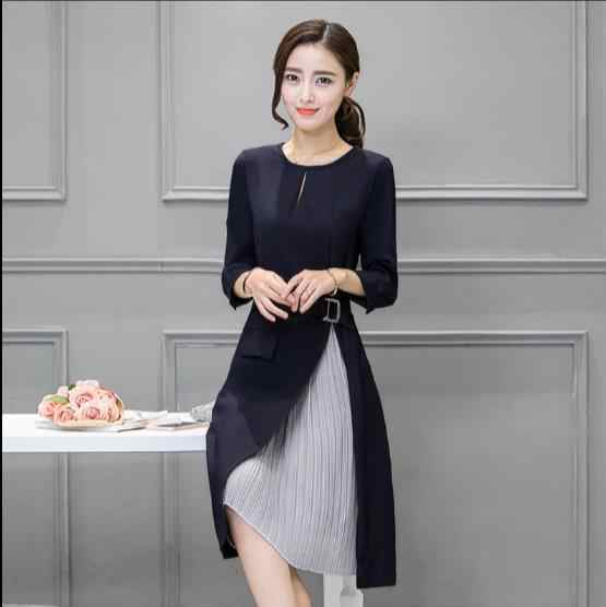 ... Long Sleeve Patchwork Skater Dresses Autumn Winter Spring Casual A Line  Dress Fake Two Pieces Sashes ... d228509a7b18