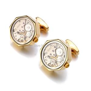 Image 2 - Многофункциональные Запонки со стеклом, нержавеющая сталь, стимпанк, механизм запонки для мужских часов