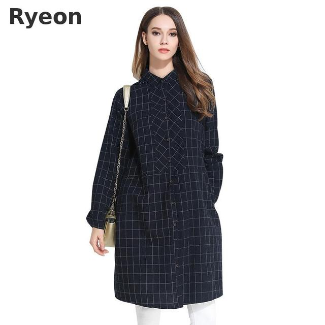 US $38.95 |Ryeon 4xl Plus Size Casual Shirt Dress Loose Plaid Full Button  Knee Length Regular Vintage Spring Women Dresses-in Dresses from Women\'s ...