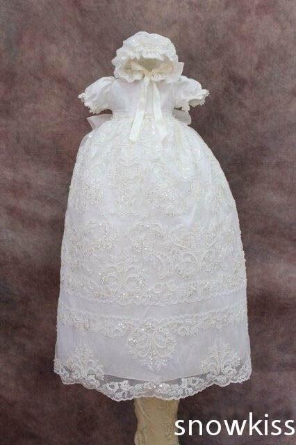 Blings алмаз бусины кружева девочка белый / кот первое причастие платья крещение платье крещение платье с капота