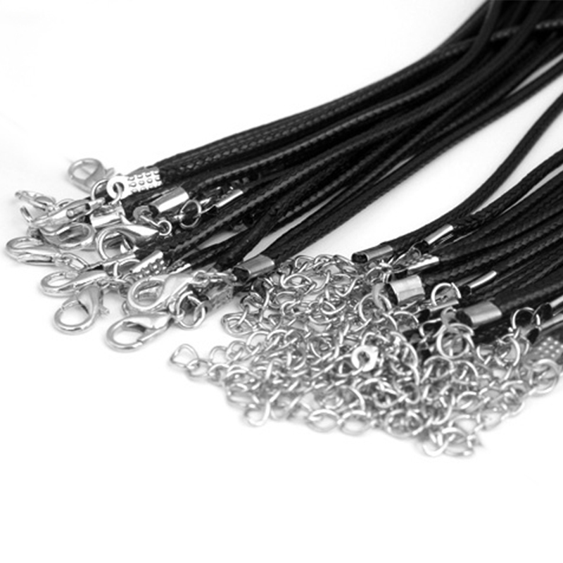 20pcs 45/60cm Adjustable DIY Handmade Leather Braided Rope Necklaces & Pendant Charms Lobster Clasp Jewelry Making String Cord