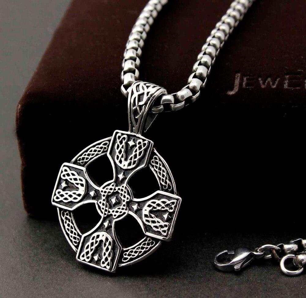Mens 316l Stainless Steel Celtic Solar Cross Pendant