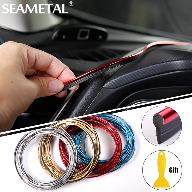 5m car styling interior decoration strips moulding trim dashboard door edge universal for cars. Black Bedroom Furniture Sets. Home Design Ideas