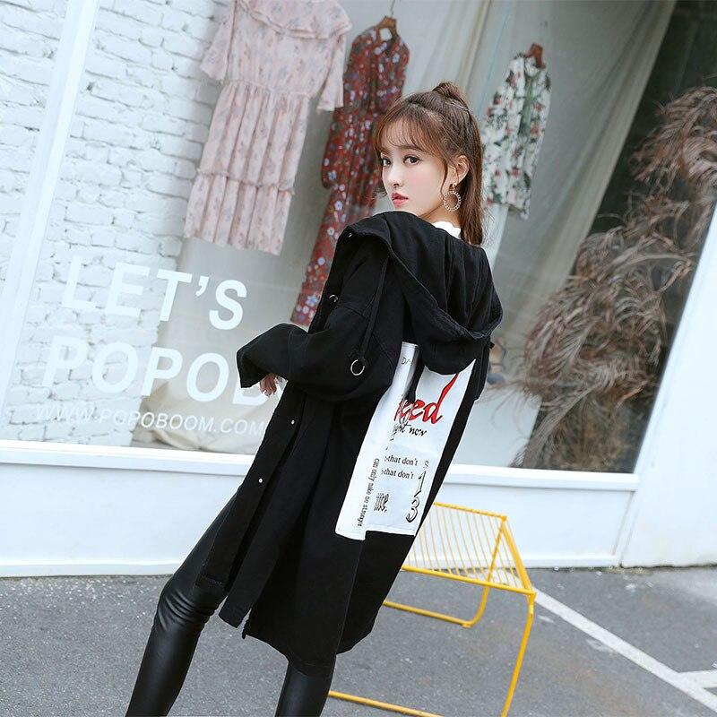 coats Printemps Manteaux Européenne Femmes Long Noir Pour Haut Manches Fasion Trench Office Automne Denim Lady Lâche Femme Solide Longues Pleine qSwY4X7