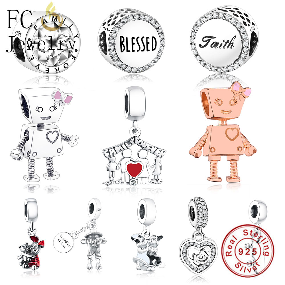 FC Jewelry Fits Pandora Charms Bracelets 925 Sterling Silver Family Robot girl Bella Bot Beads For Diy Making Gifts Berloque