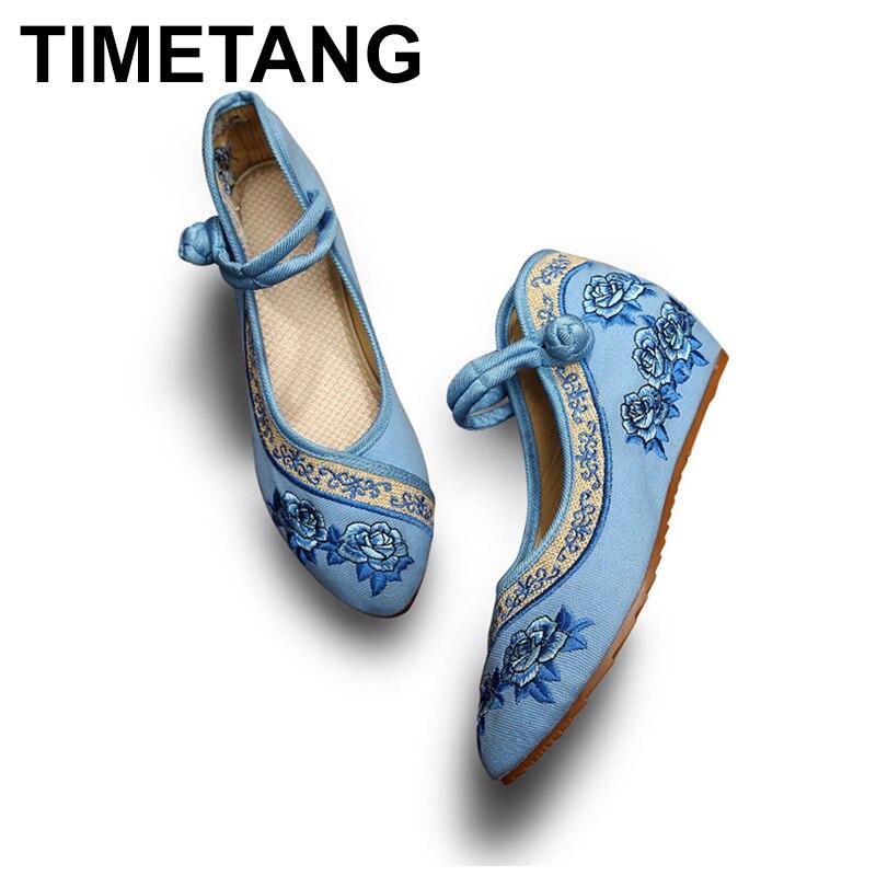 TIMETANGHandmade Women Vintage Wedges Old Peking Shoes Pointed Toe Platforms Ladies Flower Embroidered Pumps Sapato FemininoE216
