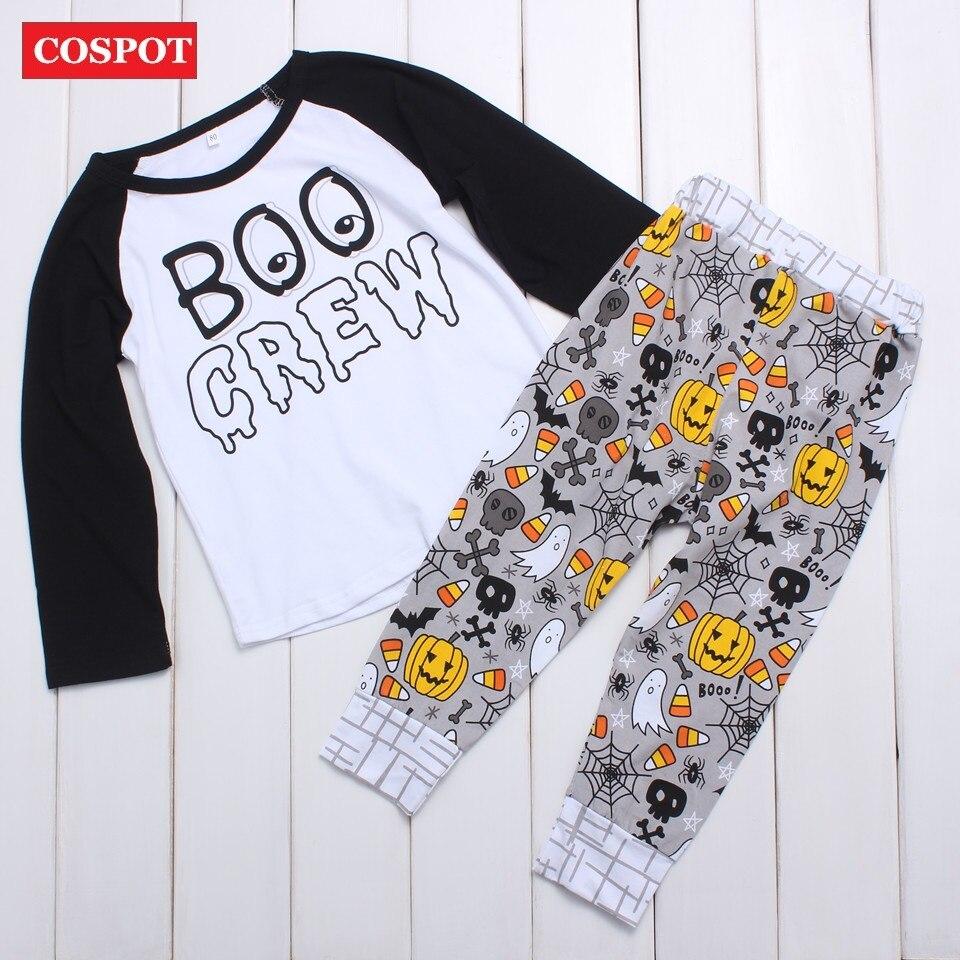 COSPOT Baby Boys Halloween Clothing Set Boy Cute Cotton Autumn 2Pcs Set Long-sleeved T Shirt+Pants Kids Cotton Suit 2017 New 20D