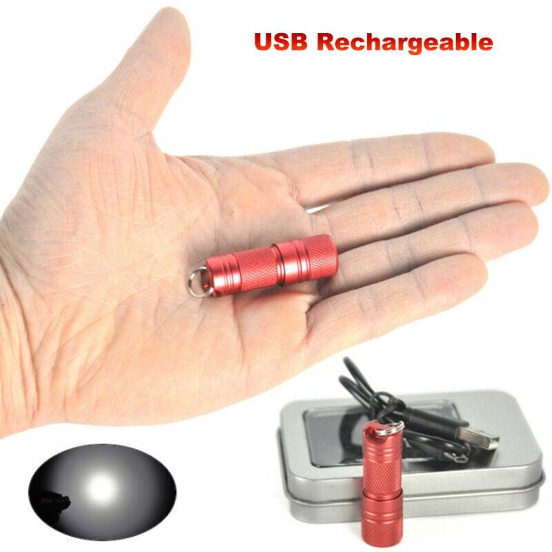 500 LM Super Bright Mini Flashlight USB Rechargeable XP E2 500Lm Mini LED EDC Keychain Flashlight With 10180 Battery Kit