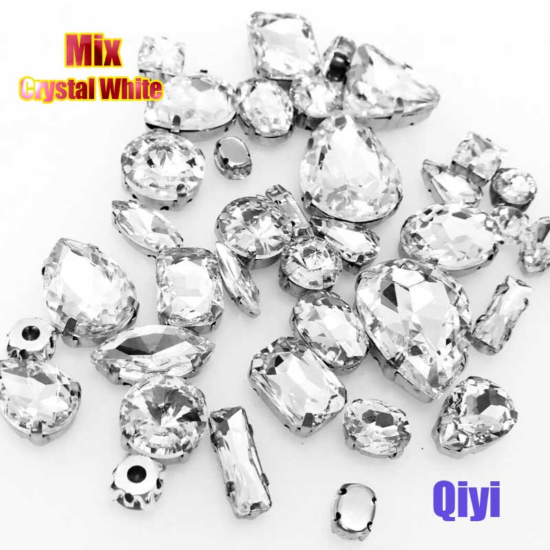 Crystal White Glass Sew-On Claw Rhinestones DIY Clothing Accessories