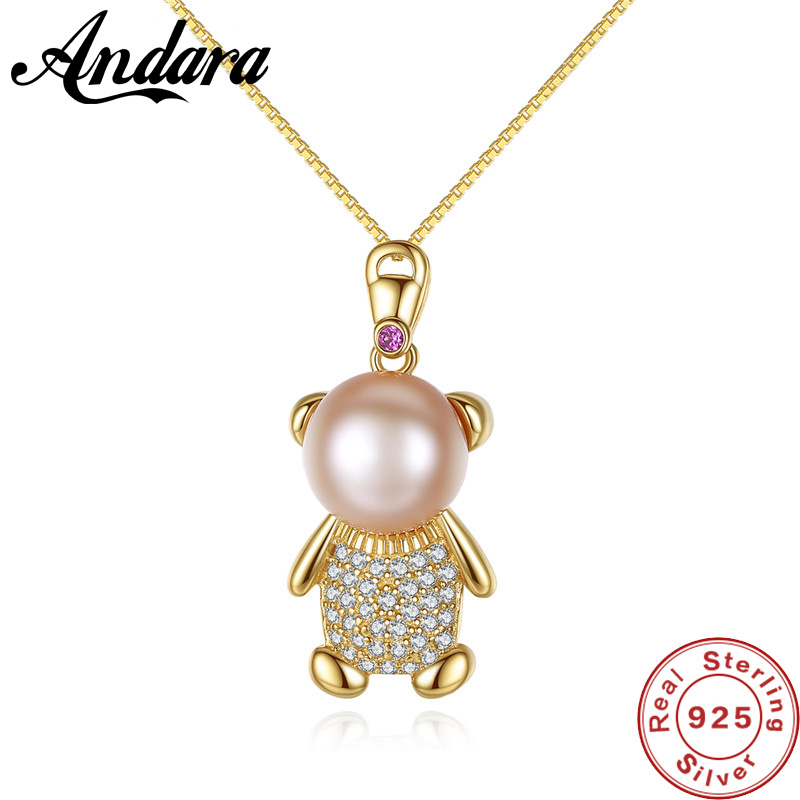 Classic 925 Sterling Silver Pendant <font><b>Crystal</b></font> Cute Bear 3 Color CZ Necklaces for Women Silver Necklace Jewelry Gift image