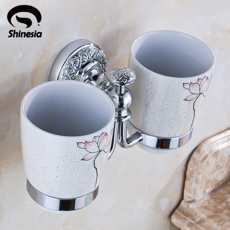 Shinesia Chrome Bathroom Toothbrush Cup Holder Double Ceramic Cups Couple Cups Solid Brass Cup Holder