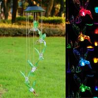 Солнечный цвет меняющий светодиодный Колибри ветер светящиеся колокольчики лампа водостойкий экологичный ветер куранты домашний сад прис...