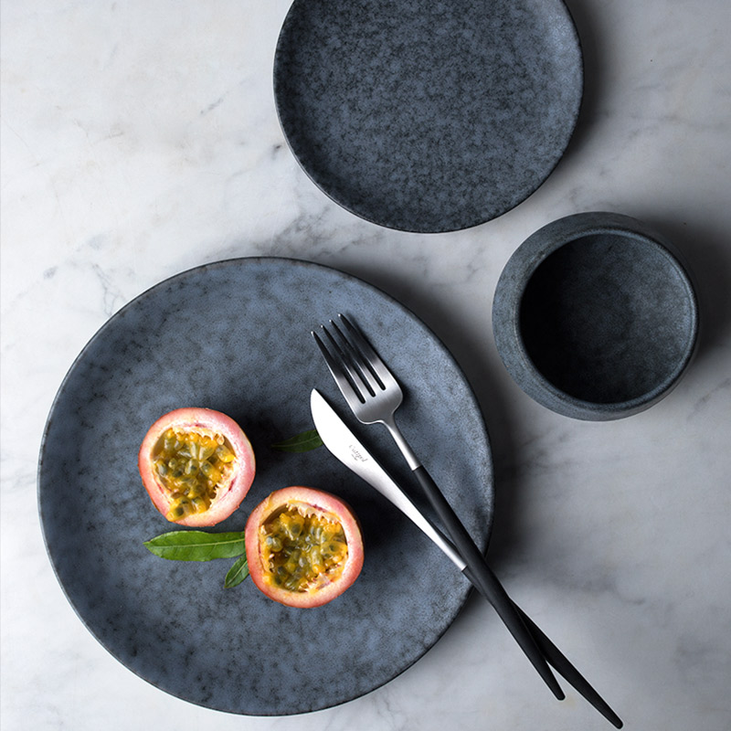 Kinglang Round Dinner Plate Home Use Ceramic Dish Grey Marble Color Solid Plate Wholesale