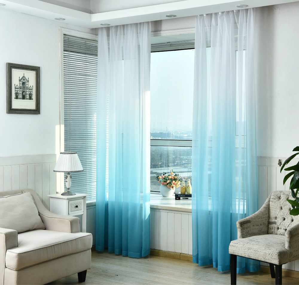 Gradient color Tulle Curtains for Kitchen the living room Window ...
