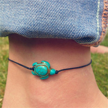 1 x Anklet Women Chain Foot Anklets Summer Foot Accessory Vintage Green Stone Turtle Rope Ankle Bracelets(China)