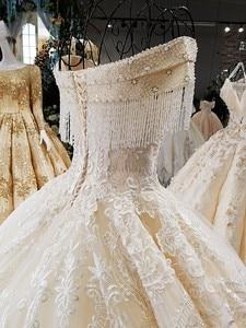 Image 5 - LS54110 2020 lüks düğün elbisesi sevgiliye balo dantel fildişi ve şampanya gelin gelinlikler uzun tren fotoğraf olarak