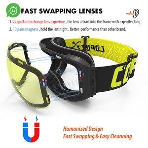 Image 3 - COPOZZ מגנטי סקי משקפי עם מהיר שינוי עדשה ומקרה סט 100% UV400 הגנה אנטי ערפל סנובורד משקפי עבור גברים & נשים