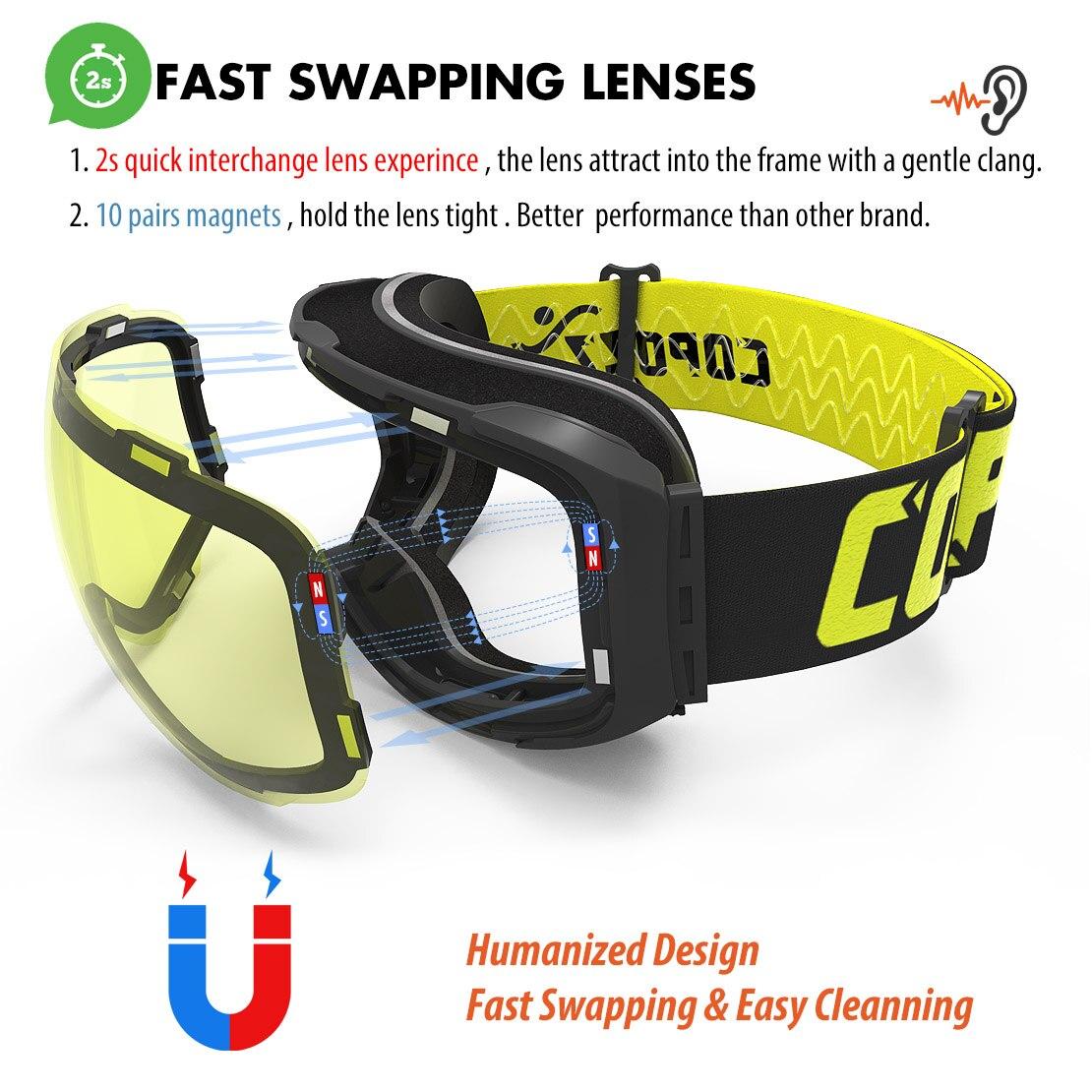 Lunettes de Ski magnétiques COPOZZ avec objectif et étui à changement rapide 100% UV400 Protection Anti-buée lunettes de Snowboard pour hommes et femmes - 3