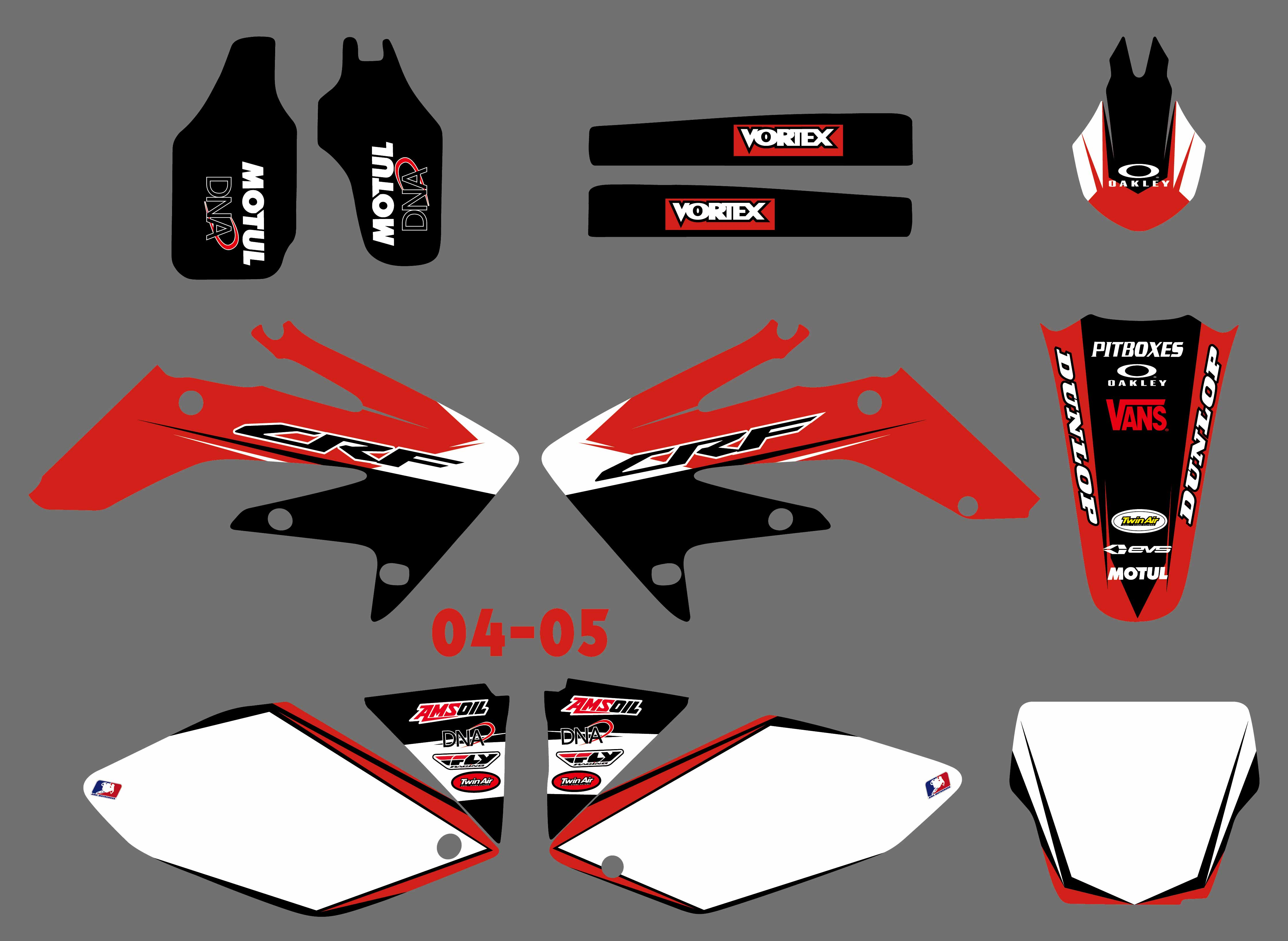 New Style TEAM GRAPHICS & BACKGROUNDS DECALS STICKERS Kits For Honda CRF250 CRF250R 2004 2005 2006 2007 2008 2009 CRF 250 250R for honda crf 250r 450r 2004 2006 crf 250x 450x 2004 2015 red motorcycle dirt bike off road cnc pivot brake clutch lever