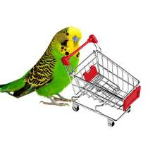 1PC Mini Supermarket Shopping Cart Pet Bird Toys Trolley Intelligence Develop Parrot Toys Cosmetic Container S2(China)