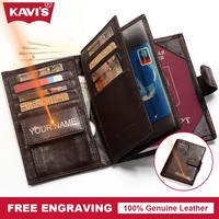 KAVIS Genuine Leather Wallet Men Passport Holder Cover Coin Purse Travel Case Walet PORTFOLIO Portomonee Vallet