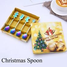 1 комплект рождественские кармашки для столовых приборов кофе нержавеющая сталь для ложек мороженое десертная ложка Xms Снеговик Дети питьевой ложки для чая Прямая поставка