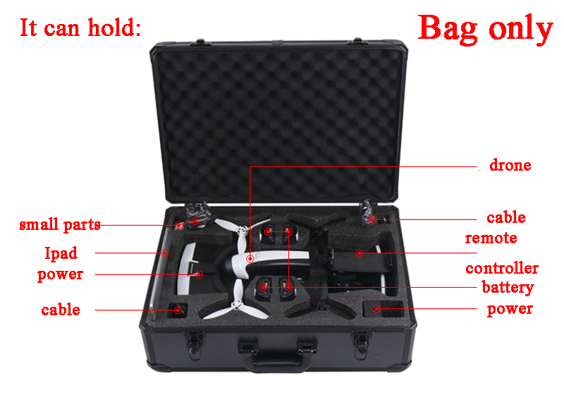 For Parrot Bebop 2 Drone FPV Version AL Metal Shell Storage Bag Handbag Protector Case Carrying Box VR Goggle Suitcase Outdoor 1pc drone spare parts portable handbag hard case carrying storage bag protector eva for gopro karma g6 gimbal stabilitzer
