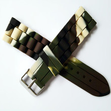 12mm14mm16mm18mm20mm22mm24mm Camouflage Silicone Rubber Strap Watch Parts Band Buckle + Tools