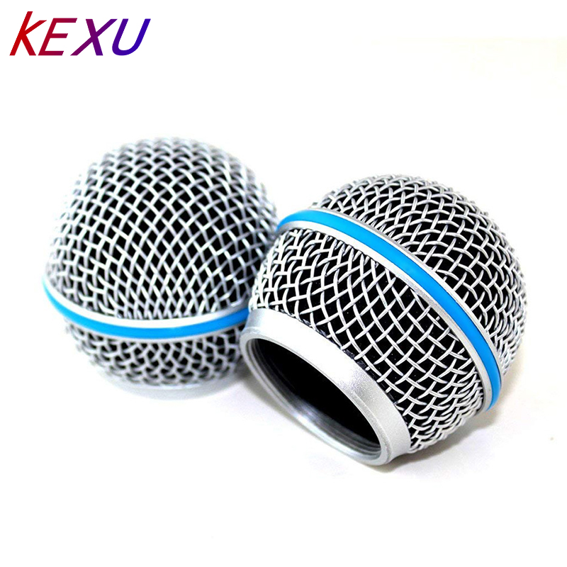 Blue Steel Mesh Microphone Grill Head For Shure Sm58 Wireless Microphone And Wired Mics, Beta 58 A Shure Sv100 Wireless Mics