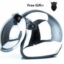 HOT SELL vintage motorcycle helmet jet capacetes de motociclista harley sliver chrome vespa cascos para moto cafe racer mirror