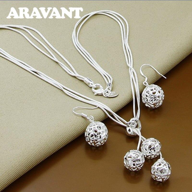 Conjuntos de joyas de plata 925, borlas de bola, Pendientes colgantes, collares para mujer, conjuntos de joyas de boda