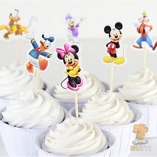 24pcs Mickey Minnie daisy candy bar cupcake toppers picks decoration baby shower kids birthday party supplies
