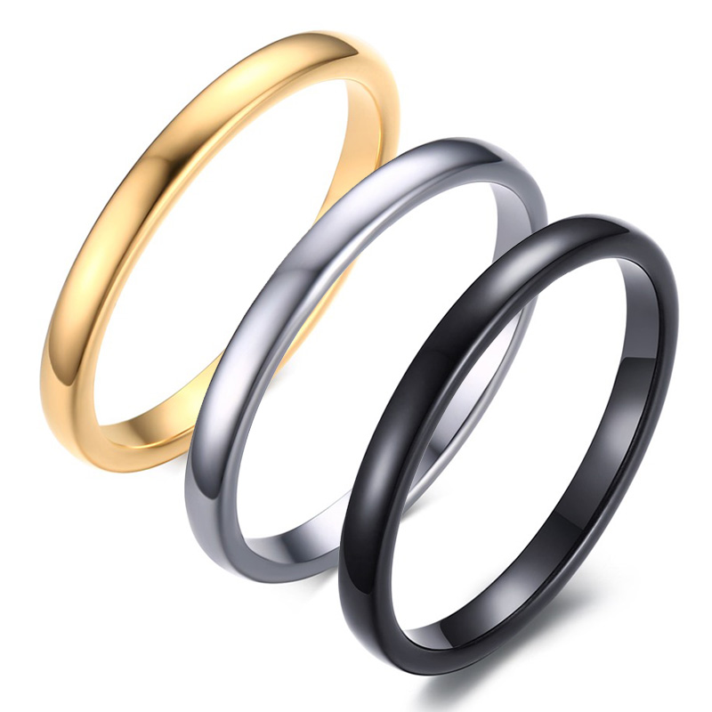 Small Simple Cute Women S Black Silver Gold Color Rings Trendy 2mm