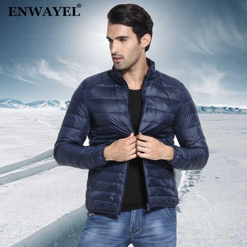 681b300a9e228 ENWAYEL Осень Зима Тонкий 90% белая утка подпушка куртка для мужчин  повседневное Сверхлегкий мужской перо