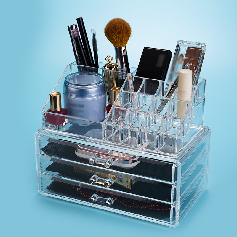 Transparent Acrylic Makeup Organizer Boxes Cosmetic Holder Storage Box Lipstick Rack Eyeshadow Brushes Drawer Type Display Case 49 golf ball display case cabinet holder rack w uv protection