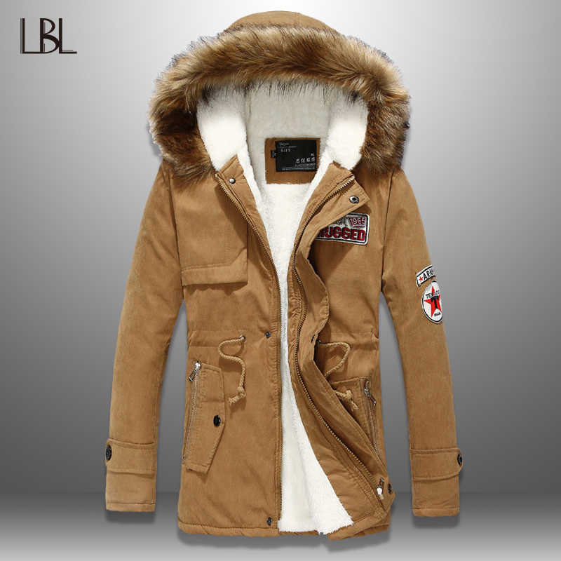 LBL Warm Fur Hooded Coat Men Winter Waterproof Mens Parka Jacket Outwear Zipper Hoody Coat Streetwear Fitness Clothing Top Male