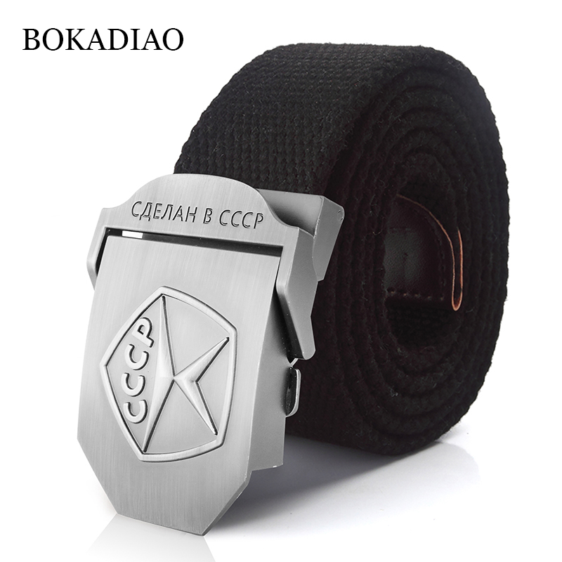 BOKADIAO Men&Women Canvas   belt   Vintage 3D CCCP Soviet Sign Metal buckle jeans   belt   Army Military tactical   belts   male strap Black