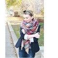 Za inverno oversize xadrez novo designer cobertor envoltório acrílico unisex cachecol de caxemira xaile do pashmina para a primavera queda 140x140 CM