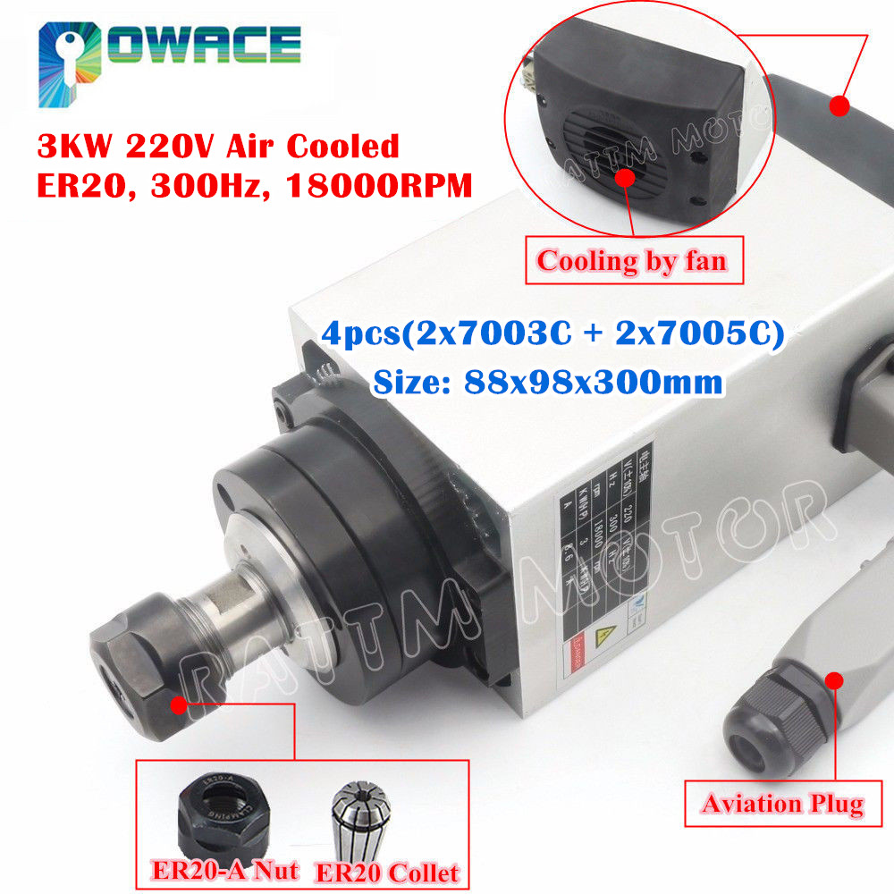 3KW CNC Water Cooled Spindle Motor ER20 High Grind Bearing Milling Moderate Cost