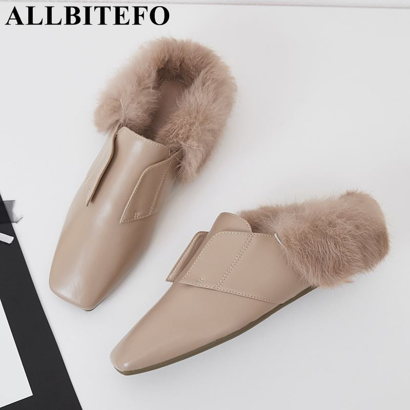 ALLBITEFO new fashion brand pu leather square toe women flats warm Rabbit's hair spring women shoes comfortable flat shoes