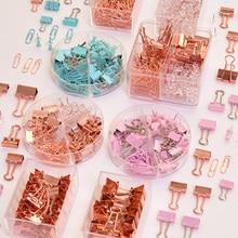 Зажим для связывания ногтей, розовое золото, скрепки, зажим, комбинация, офисные канцелярские принадлежности, длинный хвост, металлические зажимы, канцелярские принадлежности