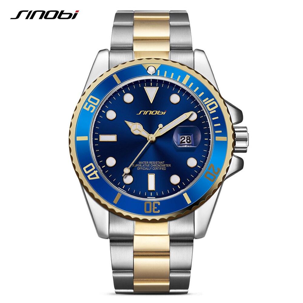 Montre Homme Men Watches Quartz Wristwatches For Man Luxury 316 Stainless Steel Band Business Watch Reloj Hombre Hot SINOBI 9721 Наручные часы