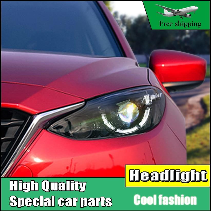 Car Styling Head Lamp For Mazda 3 Axela Headlights 2014 - 2016 LED Headlight DRL front light Bi-Xenon Lens Double Beam HID KIT
