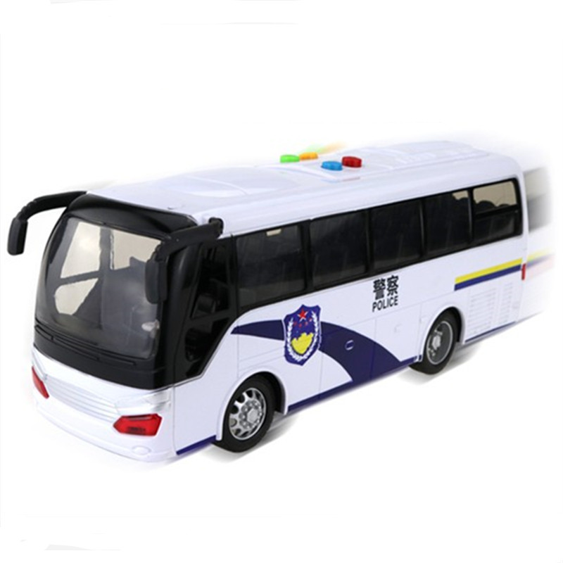 Big white police bus open door light Music car model voiture juguete boys birthday oyuncak Christmas gift kids toys