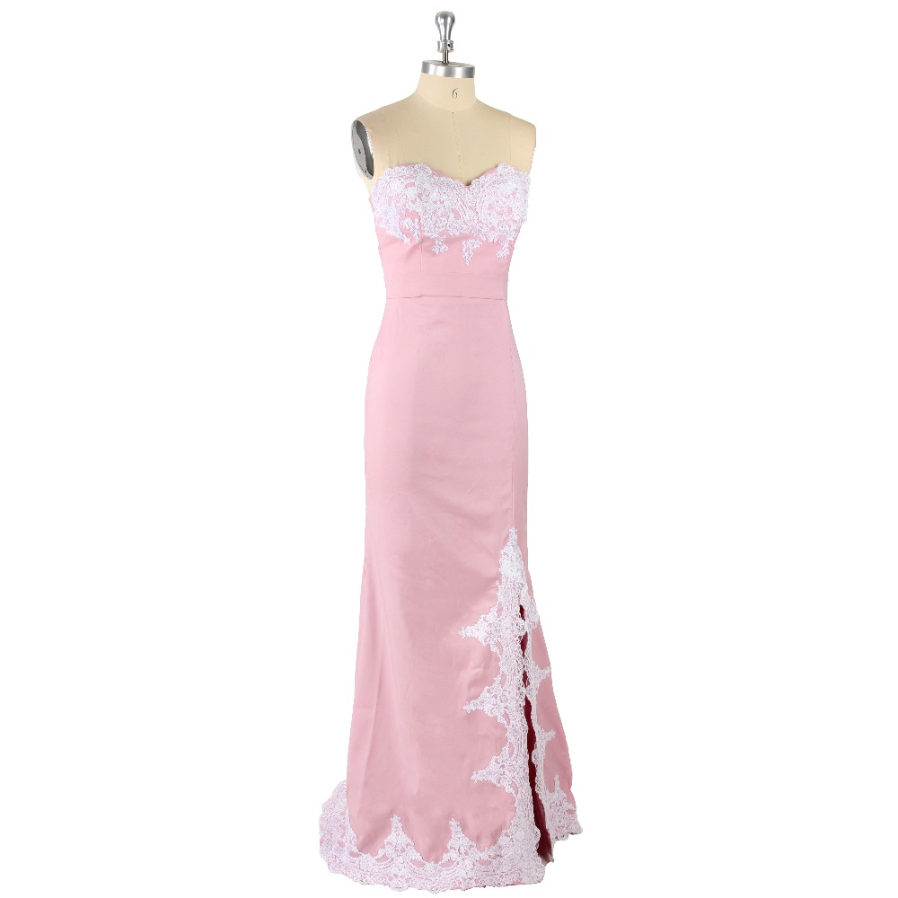 2017 Pink Sexy Sweetheart Sleeveless Appliques Front Slit Mermaid Satin Sweep Train Prom Dress
