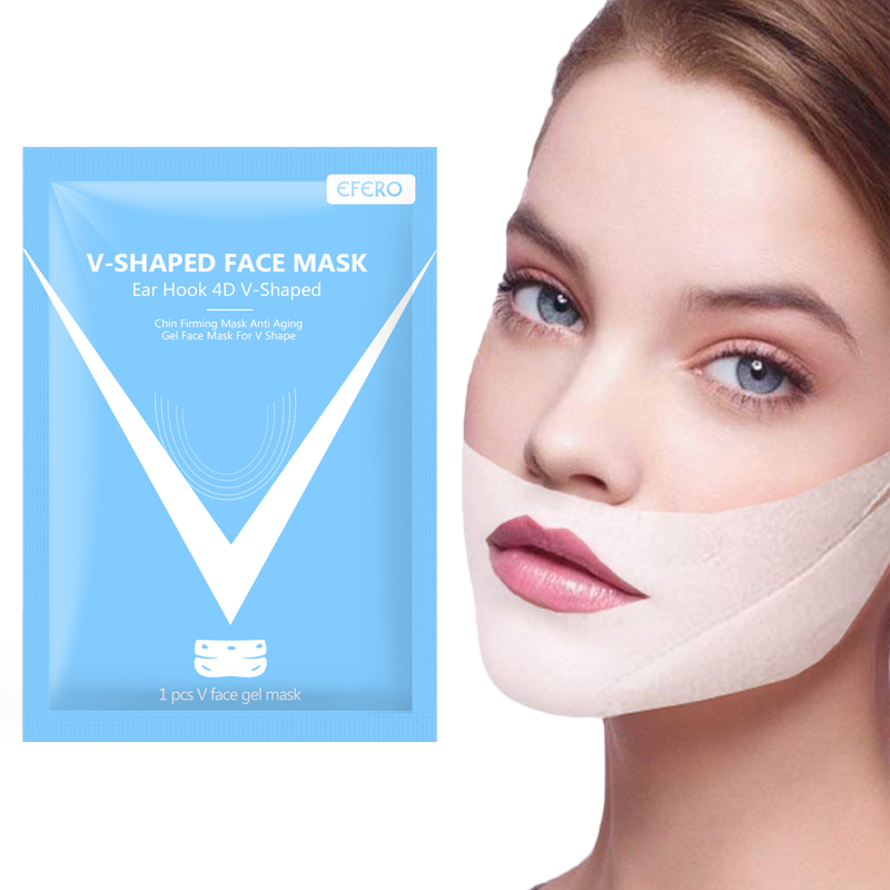 V Face Shape Tension Firming Mask Slimming Eliminate Edema Contour Face Mask 4D Double Gel Mask Thin Masseter Patch Face Care