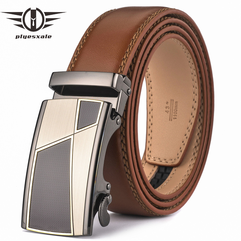 Plyesxale Automatic Buckle Brown Belt Men 2018 Brand Designer Mens Belts Luxury Genuine Leather Belt For Men High Quality B10